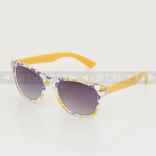 Retro Square Shape Flower Frame Kids Sunglasses K61FL Yellow