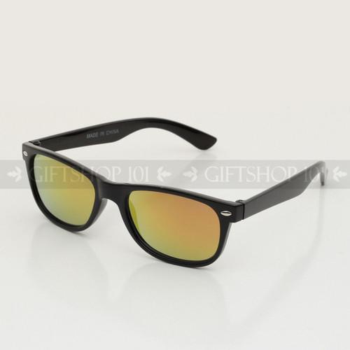 Retro Square Shape Mirror Lens Color Kids Sunglasses K63RV Black Frame Orange Lens