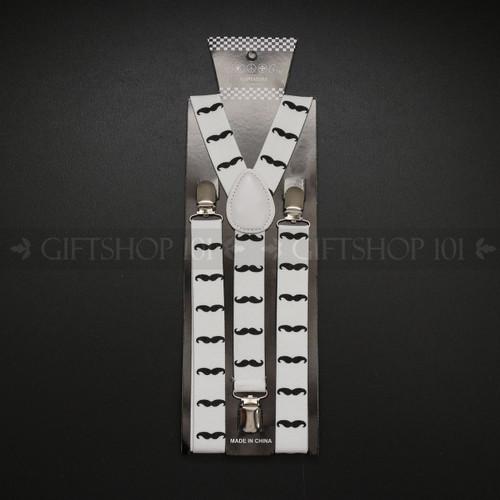Suspenders Elastic - Black Mustache / White