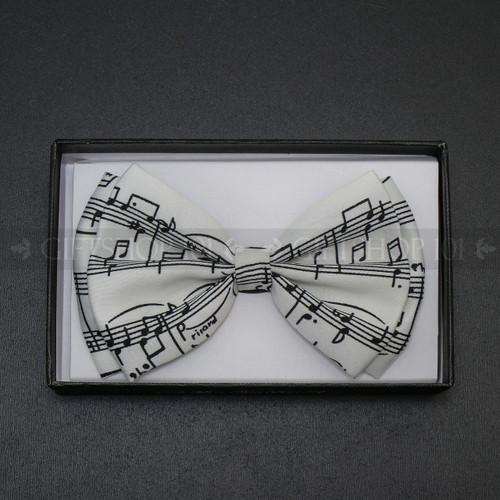 Bow Tie - Black Music Note / White