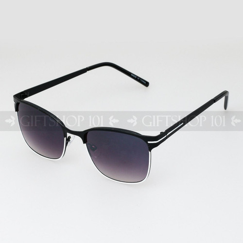 Clubmaster Shape Unisex Fashion Metal Sunglasses 51015 Black White