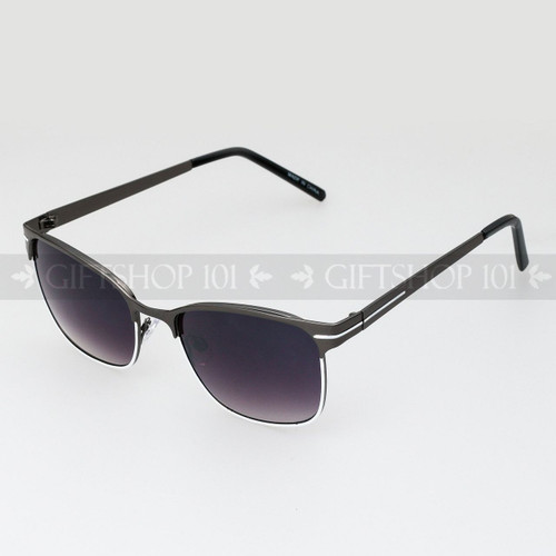 Clubmaster Shape Unisex Fashion Metal Sunglasses 51015 Dark White