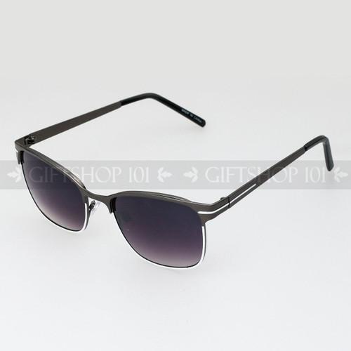 Clubmaster Shape Unisex Fashion Metal Sunglasses 51015 Dark White