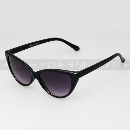 Cat Eye Shape Retro Fashion Sunglasses 80475 Glossy Black