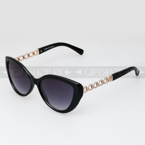 Cat Eye Shape Noble Style Fashion Sunglasses 80487 Black Gold