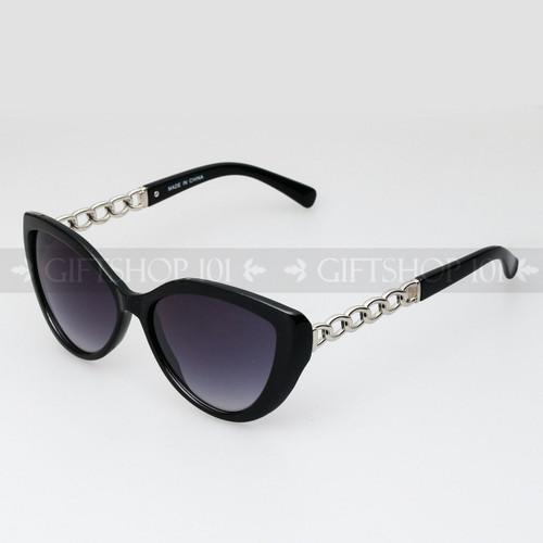 Cat Eye Shape Noble Style Fashion Sunglasses 80487 Black Silver