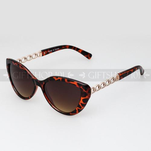 Cat Eye Shape Noble Style Fashion Sunglasses 80487 Tortoise