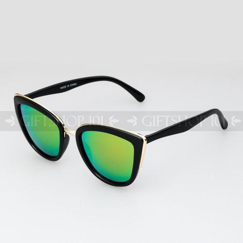 Cat Eye Shape Mirror Lens Fashion Sunglasses 96002RV Black Frame Yellow Lens