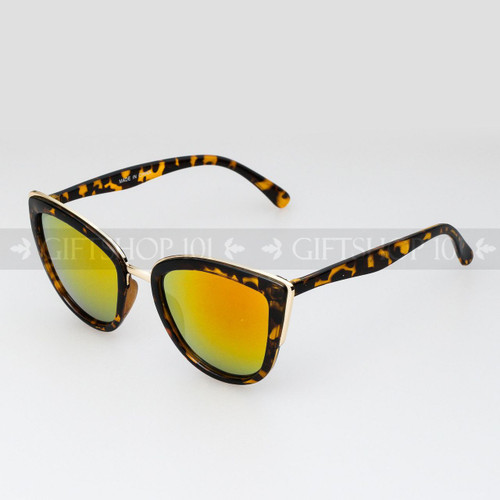 Cat Eye Shape Mirror Lens Fashion Sunglasses 96002RV Tortoise Frame Orange Lens