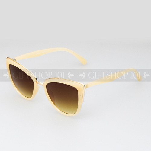 Cat Eye Shape Retro Vintage Fashion Sunglasses 96002 White