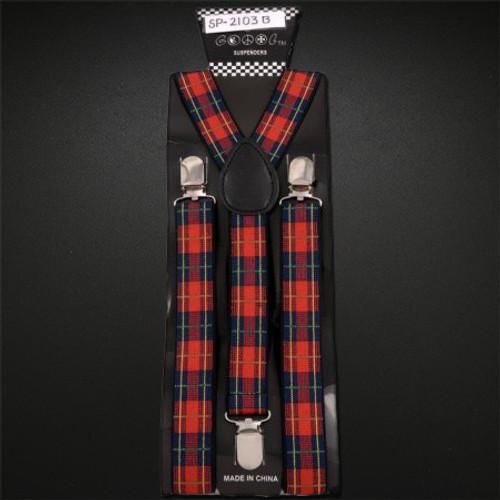 Suspenders Elastic - Red Plaid