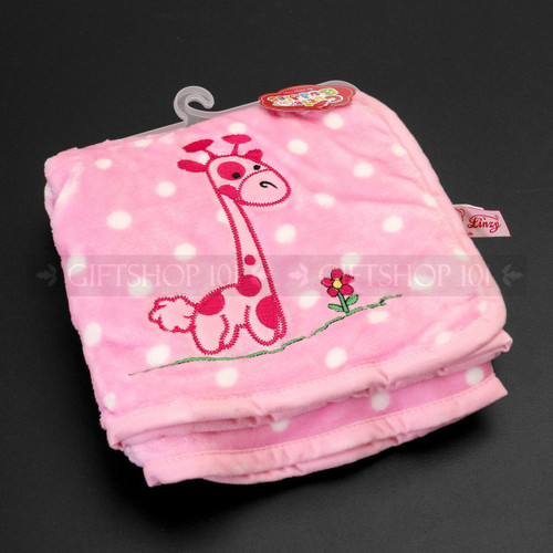 "38"" Wild Animals Print Soft Baby Blanket - Pink With Griaffe - Image 1"