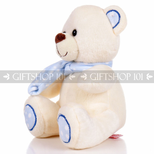 "8.5"" Pandy Bear With Scarf Soft Plush Toy Stuffed Animal - Baby Blue - Image 2"
