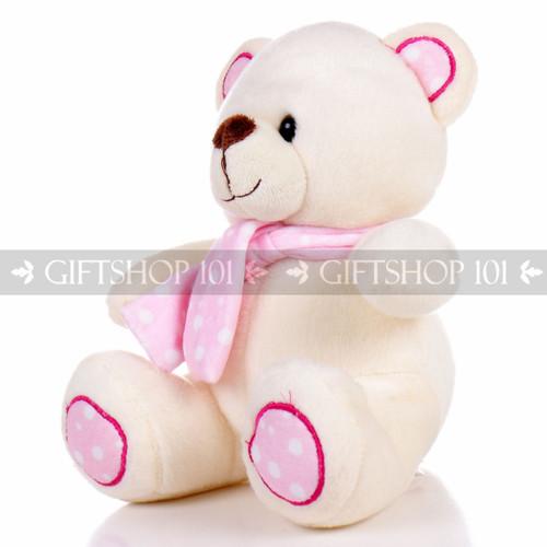"8.5"" Pandy Bear With Scarf Soft Plush Toy Stuffed Animal - Baby Pink - Image 2"