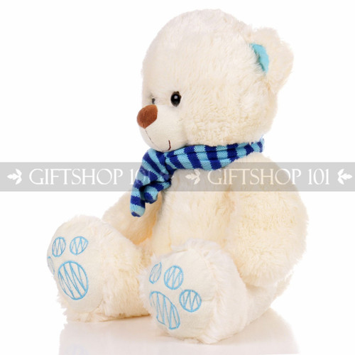 "14"" Theo Bear With Scarf Soft Plush Toy Stuffed Animal - Blue - Image 2"