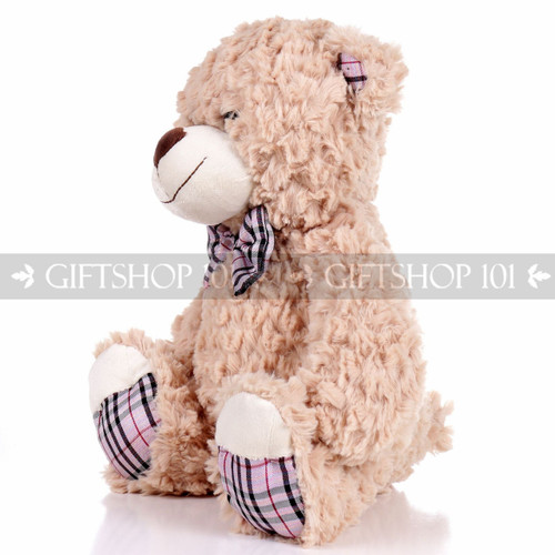 "14"" Theo Bear With Scarf Soft Plush Toy Stuffed Animal - Brown - Image 2"