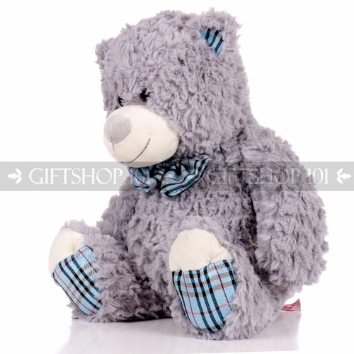 "14"" Einstein Bear With Scarf Soft Plush Toy Stuffed Animal - Gray - Image 2"