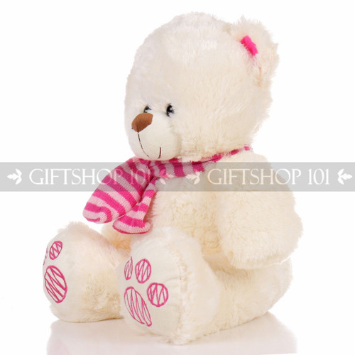 """14"""" Theo Bear With Scarf Soft Plush Toy Stuffed Animal - Pink - Image 2"""