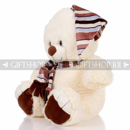 "13.5"" Shorty Bear With Hat & Scarf Soft Plush Toy Stuffed Animal - Brown - Image 2"