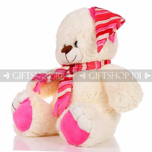 "13.5"" Shorty Bear Hat & Scarf Soft Plush Toy Stuffed Animal - Pink - Image 2"