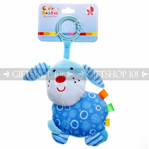 """6"""" Cute Dog Soft Plush Baby Rattle With Clips - Blue - Image 1"""