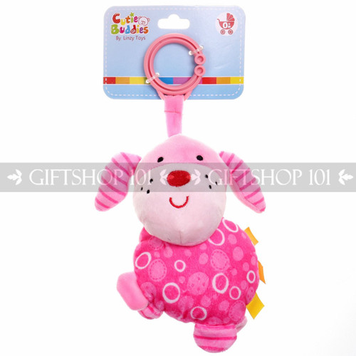 "6"" Cute Dog Soft Plush Baby Rattle With Clips - Hot Pink - Image 1"