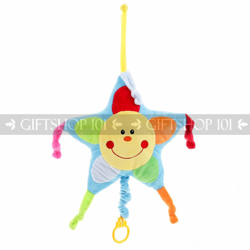"9.5"" Smiling Star Baby Pull String Musical Plush - Blue - Image 1"