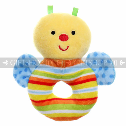"5"" Cute Bee Soft Plush Baby Rattle - Blue - Image 1"