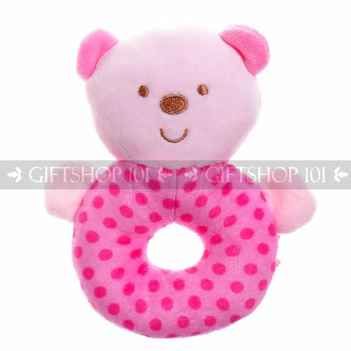 "5"" Cute Bear Soft Plush Baby Rattle - Pink - Image 1"