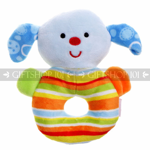 "5"" Cute Dog Soft Plush Baby Rattle - Blue - Image 1"