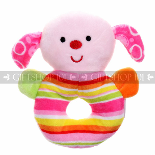 "5"" Cute Dog Soft Plush Baby Rattle - Pink - Image 1"