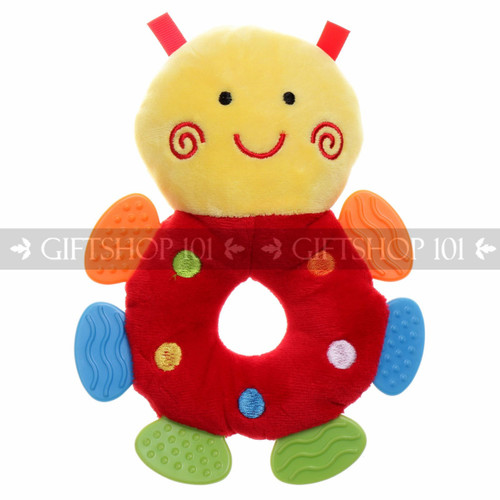 """7"""" Cute Bee Soft Plush Baby Rattle With Multi Color Teether - Red - Image 1"""