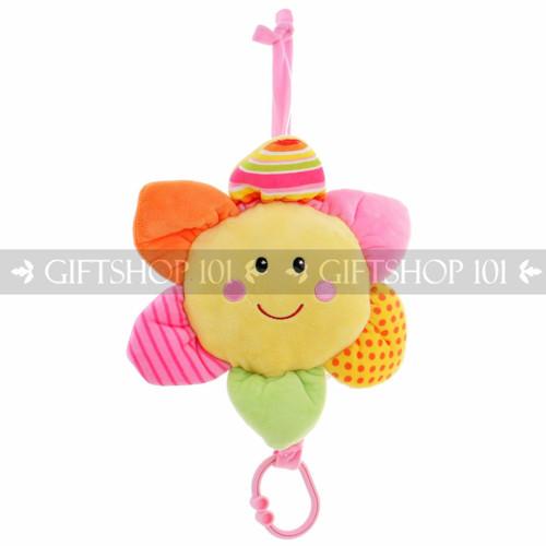 """12"""" Take Along Smiling Sun Flower """"Lullaby"""" Baby Pull String Musical Plush - Pink - Image 1"""