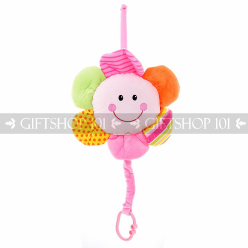 "10.5"" Take Along Smiling Sun Flower ""Lullaby"" Baby Pull String Musical Plush - Pink - Image 1"