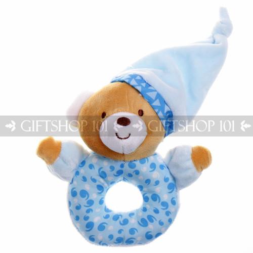 """6"""" Sleepy Bear With Hat Soft Plush Baby Rattle - Blue - Image 1"""
