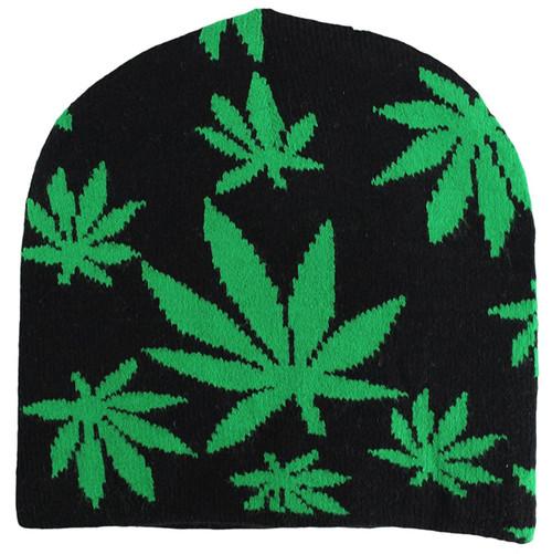 Winter Beanie - Marijuana leaves