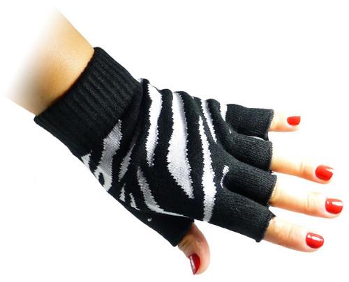 Fingerless Gloves - Zebra