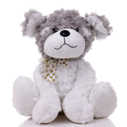 "12"" Cuddle Dog with Paw Print Ribbon - Grey (Front)"