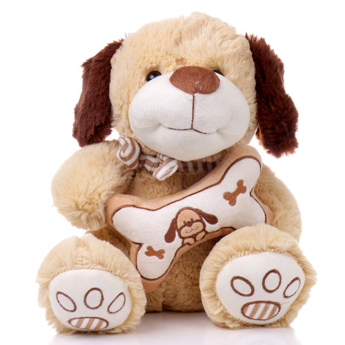 "12"" Bane Dog with Bone - Brown (Front)"