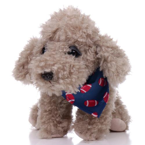 "9"" Milo Dog with Football Bandanna - Grey (Front)"