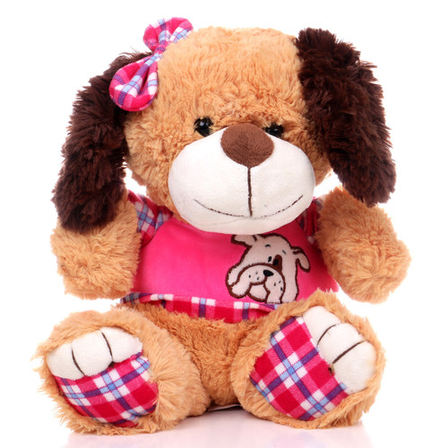 """11"""" Amelia Dog with Shirt - Pink (Front)"""