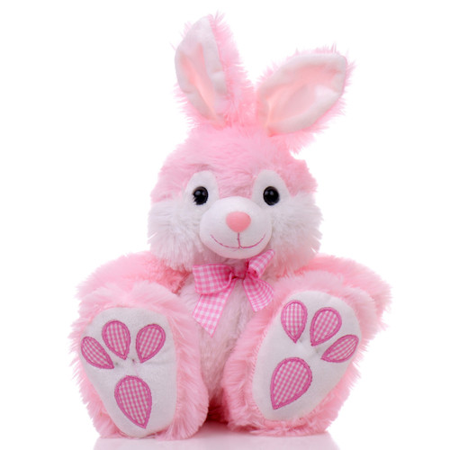"""10"""" Footsie Bunny with Ribbon - Pink (Front)"""
