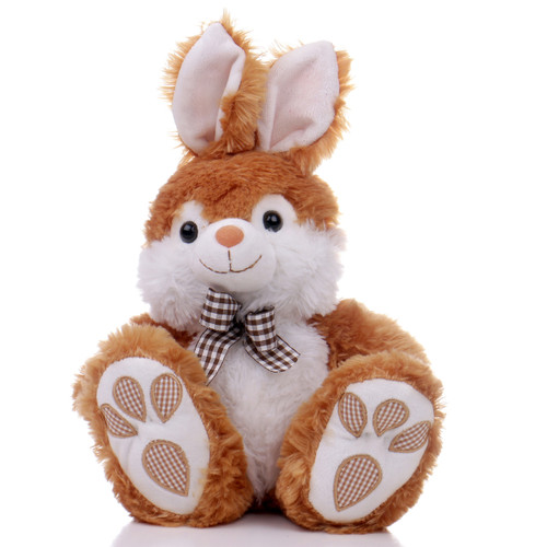 """10"""" Footsie Bunny with Ribbon - Brown (Front)"""