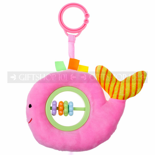 "5"" PINK LITTLE WHALE WITH BABY RATTLE"