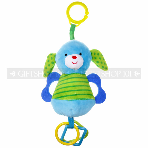 """7"""" LITTLE DOG ANIMAL BABY RATTLE W/ O' RING & TEETHER"""