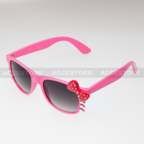 Classic Shape Hello Kitty Style Sunglasses BW5RS - Pink Frame Red Bow