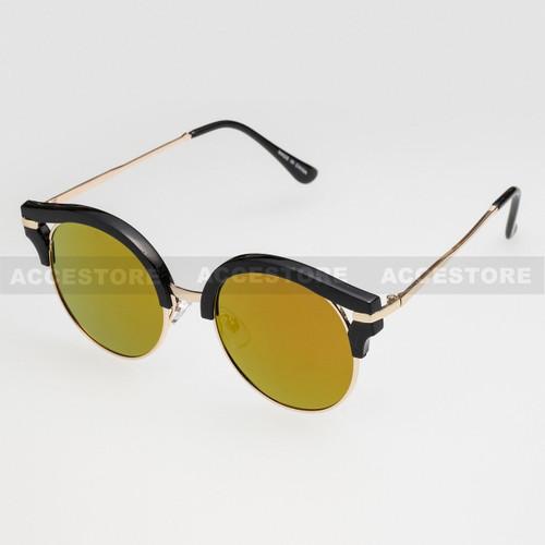 Round Shape Half Frame Mirror Lens Sunglasses 95007RV - Black