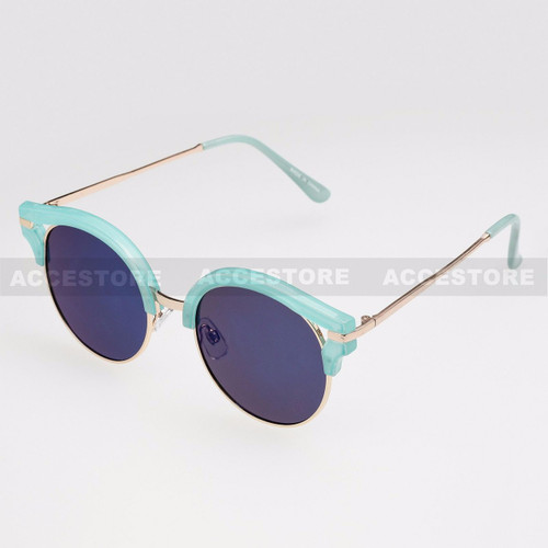 Round Shape Half Frame Mirror Lens Sunglasses 95007RV - Blue