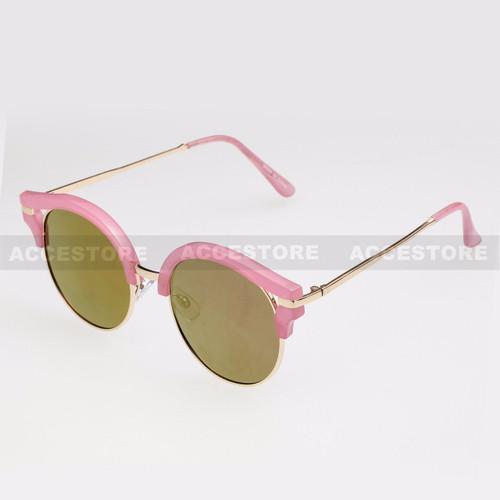 Round Shape Half Frame Mirror Lens Sunglasses 95007RV - Pink