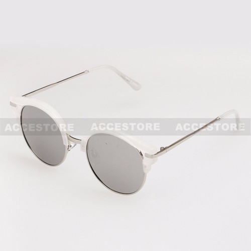 Round Shape Half Frame Mirror Lens Sunglasses 95007RV - White